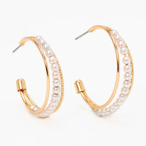 Gold 30MM Pearl Triple Hoop Earrings,