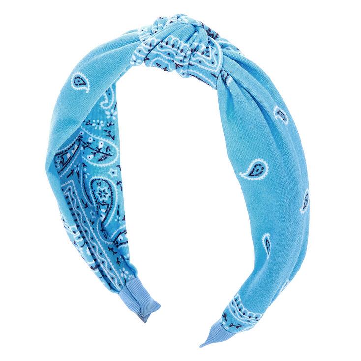 Bandana Knotted Headband - Light Blue,