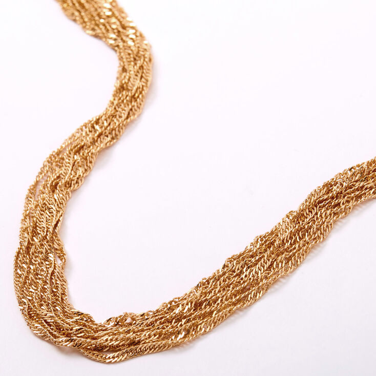 Gold Twisted Rope Chain Multi Strand Necklace,