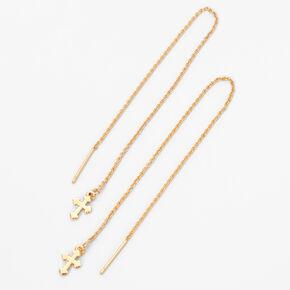 "Gold 3"" Cross Threader Drop Earrings,"