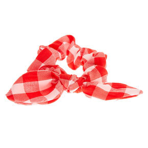 Small Gingham Knotted Bow Hair Scrunchie - Red,