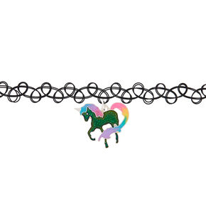 Glitter Unicorn Mood Tattoo Choker Necklace - Black,