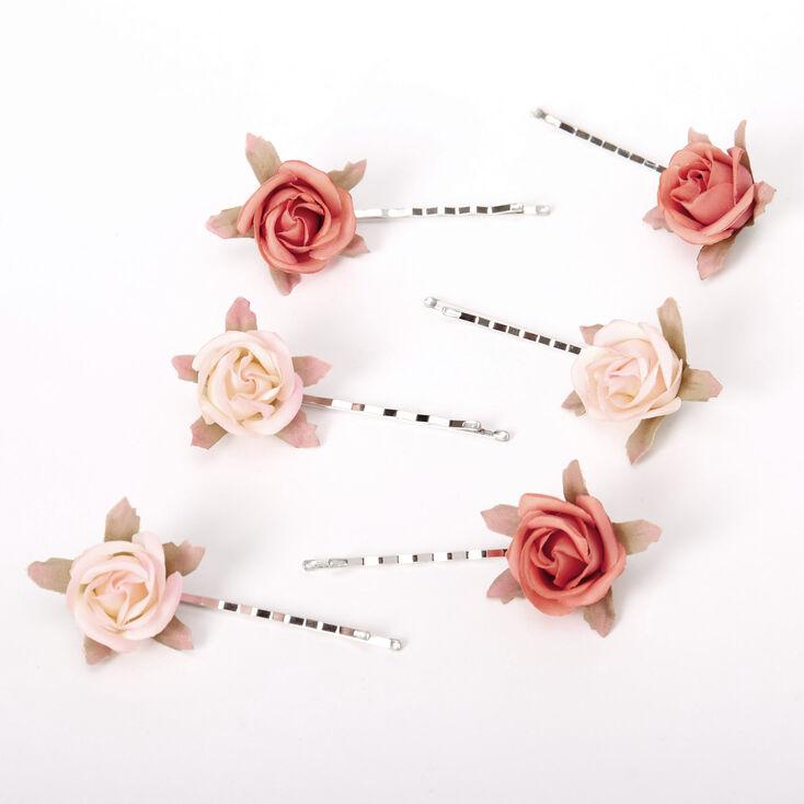 Peachy Rose Flower Hair Pins - 6 Pack,