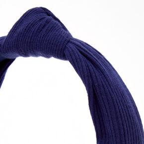 Knotted Ribbed Knit Headband - Navy,