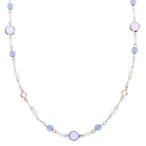 Silver Beaded Stone Long Necklace - Blue,