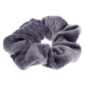 Medium Ribbed Velvet Hair Scrunchie - Blue,