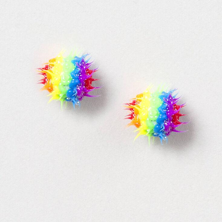 Glittery Rainbow Rave Ball Stud Earrings
