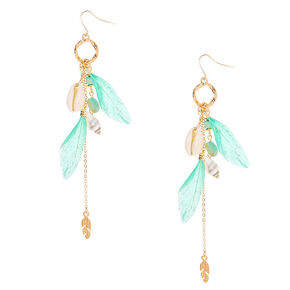 "Gold 4.5"" Shell Feather Drop Earrings - Turquoise,"