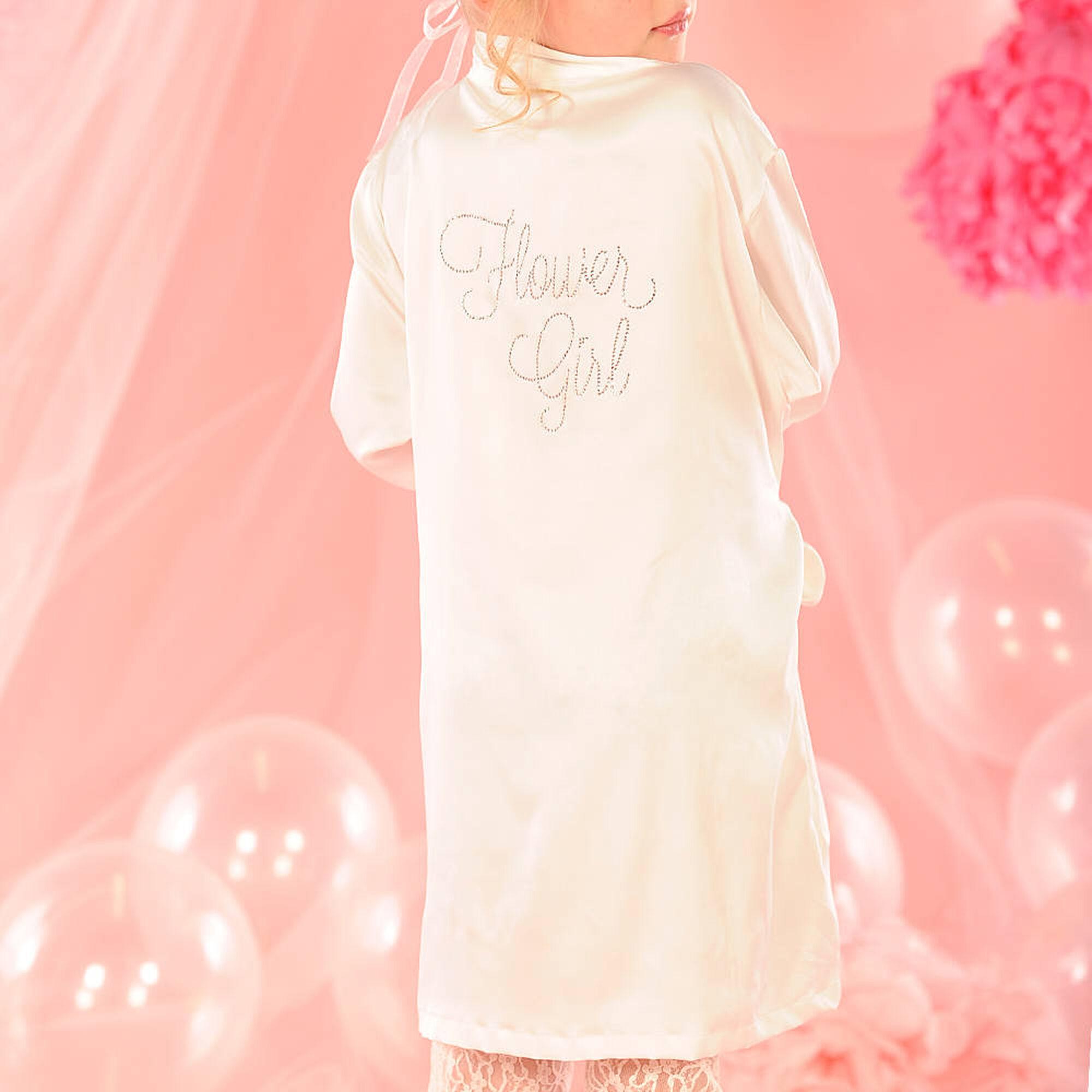 Kids White Satin Flower Girl Robe Claires Us