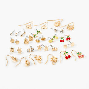 Gold Tropical Fruit Mixed Earrings - 20 Pack,