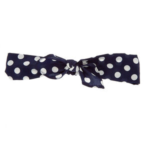 Polka Dot Knotted Bow Headwrap - Navy,