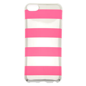 Pink & Silver Striped Phone Case - Fits iPhone 5/5S,