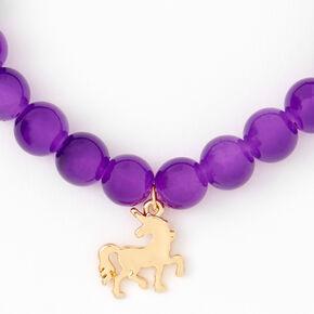 Gold Unicorn Beaded Stretch Bracelet - Purple,