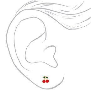 Clous d'oreilles cerise couleur dorée en argent - Rouge,