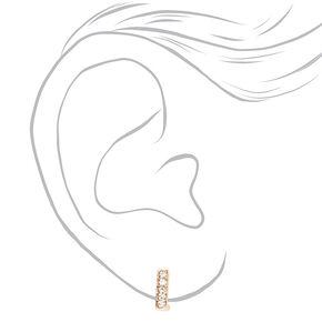 Gold 10MM Embellished Square Huggie Hoop Earrings,