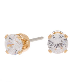 Gold Cubic Zirconia Round Stud Earrings - 4MM,