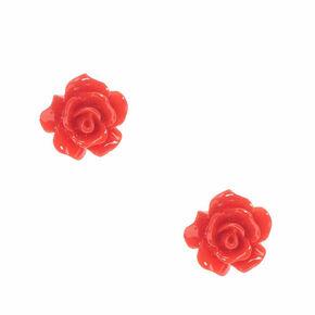 Carved Rose Stud Earrings - Red,