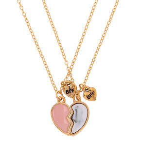 Best Friends Broken Heart Pendant Necklaces - Pink, 2 Pack,