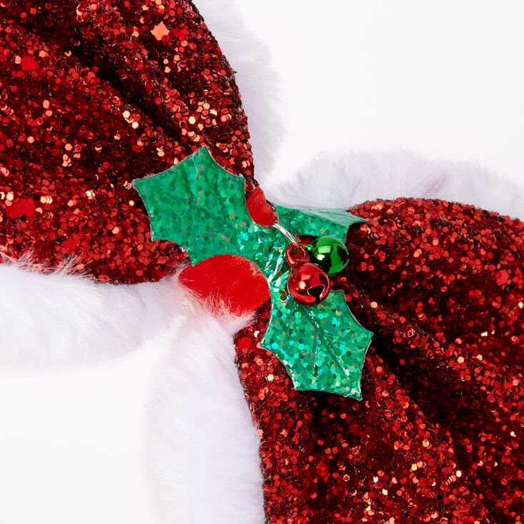 Christmas Holly Glitter Bow Headband - Red,