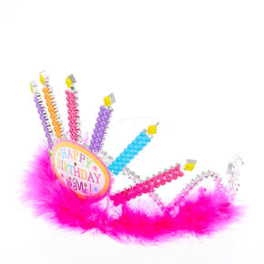 Claire's Club Happy Birthday to Me Light Up Tiara - Pink,