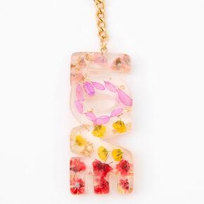 Translucent Floral Keychain - Gold,