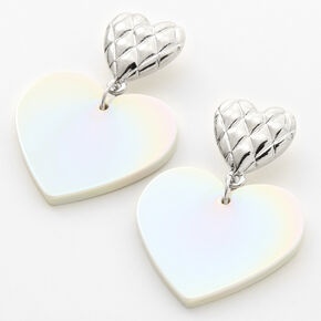 """Silver 1.5"""" Quilted Heart Drop Earrings - White,"""