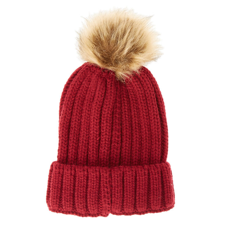 Maroon Beanie with Tan Pom Pom  61adb355313