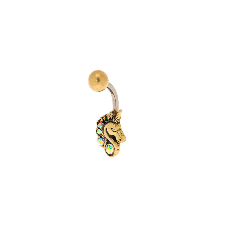 Gold 14g Iridescent Crystal Unicorn Belly Ring