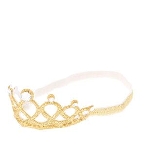Claire's Club Glitter Tiara Headwrap - Gold,