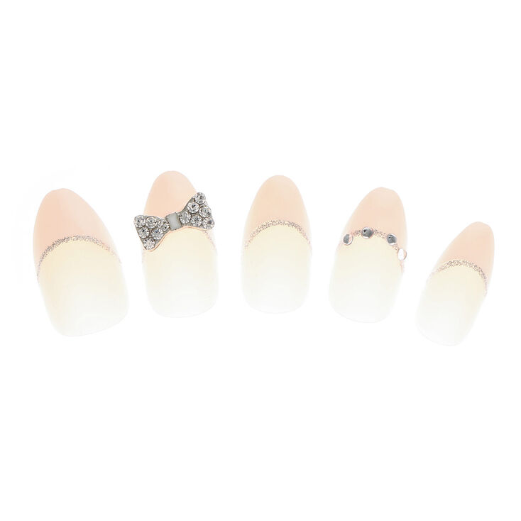Crystal Bow French Tip Stiletto Faux Nail Set - Nude, 24 Pack,