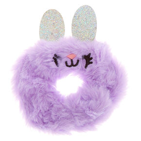 Medium Bella the Bunny Faux Fur Hair Scrunchie - Purple,