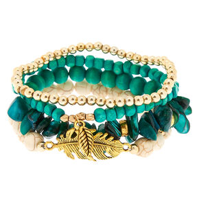 Desert Bead Stretch Bracelets - Turquoise, 4 Pack,