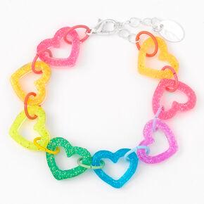 Bracelet chaîne cœur à paillettes arc-en-ciel,