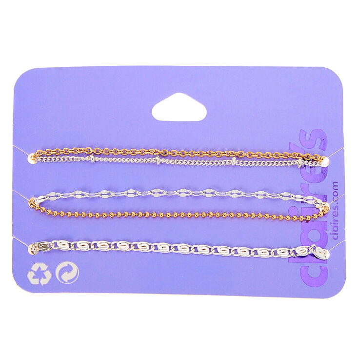Mixed Metal Chain Bracelets - 5 Pack,