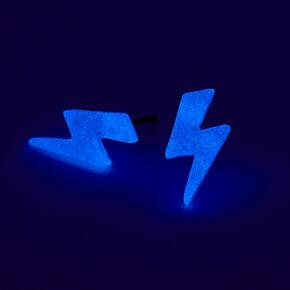 Glow In the Dark Lightning Bolt Stud Earrings - Blue,