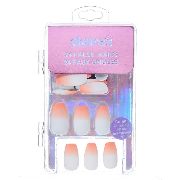 Matte Ombre Faux Nail Set - Orange, 24 Pack,