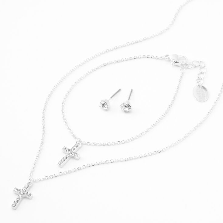 Silver Embellished Cross Jewelry Set - 3 Pack,