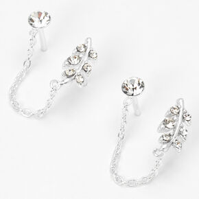 Sterling Silver Embellished Leaf Connector Chain Stud Earrings,