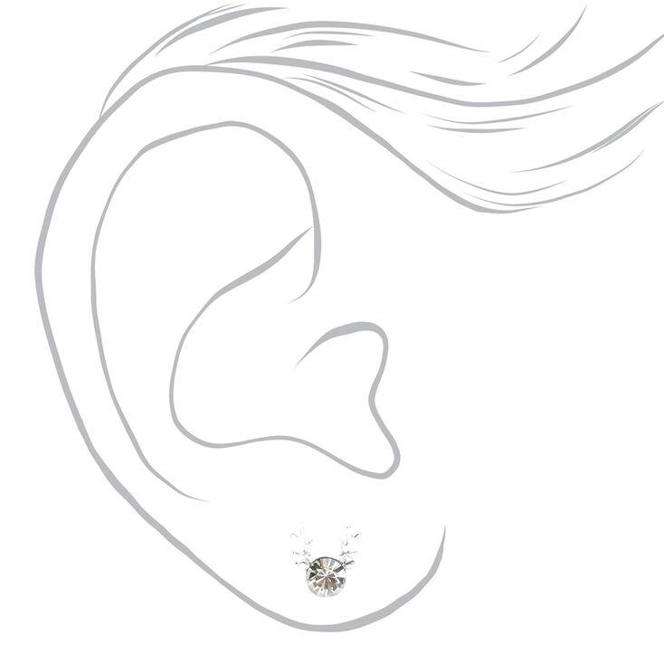 Sterling Silver Reindeer Antler Stud Earrings,