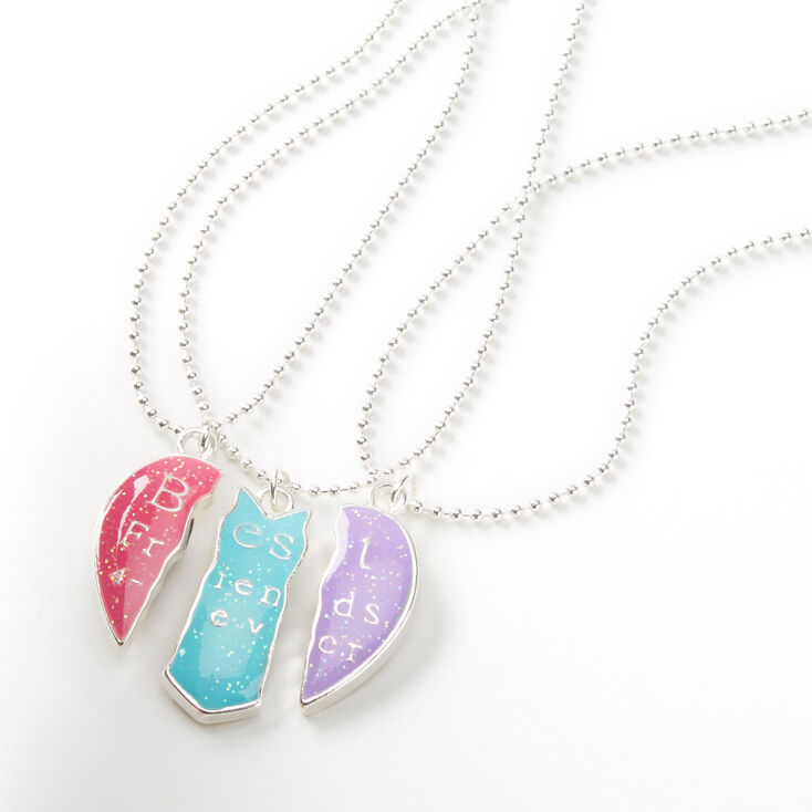 Best Friends Neon Heart Pendant Necklaces - 3 Pack,