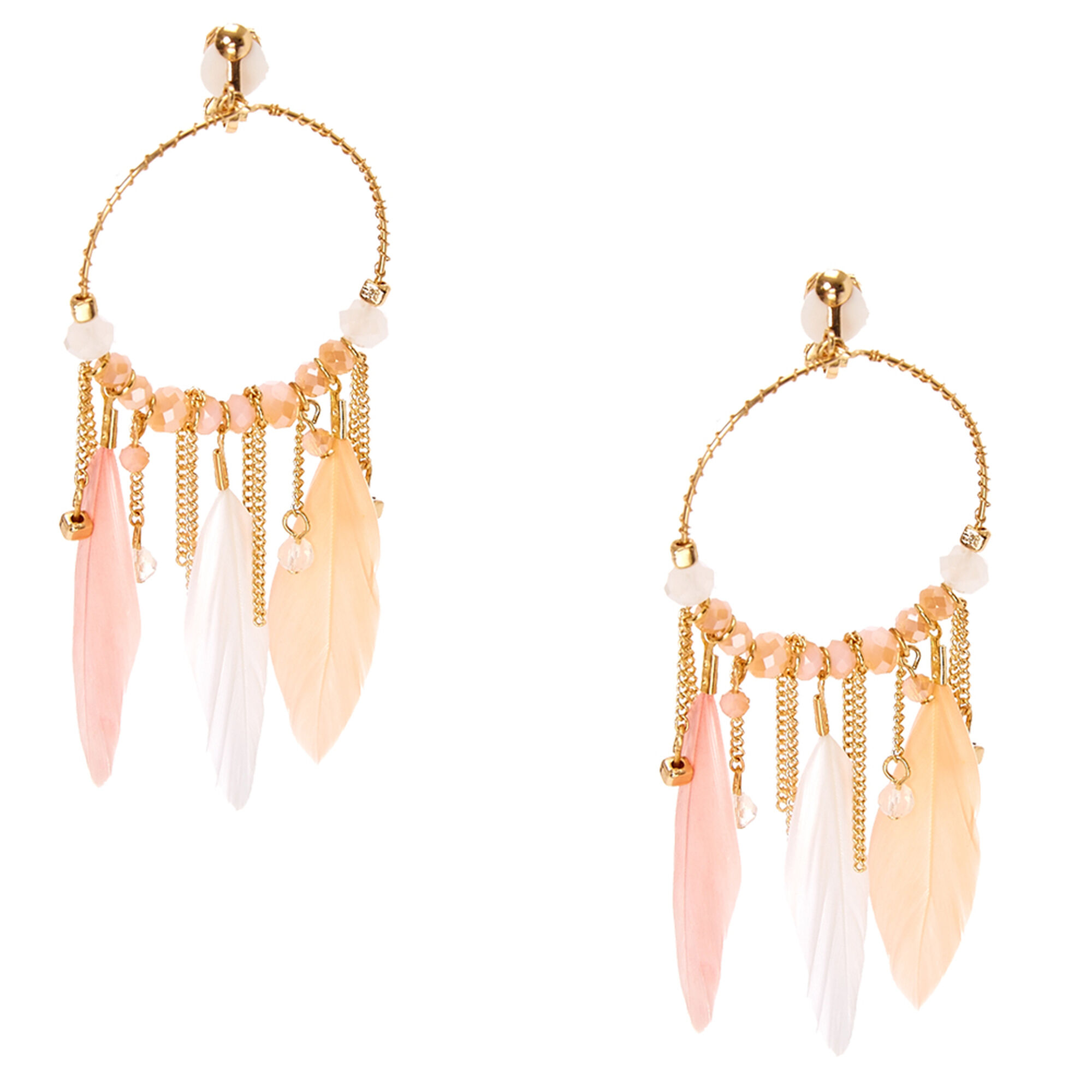 Laser Cut Gold Hoop With Pastel Feather Clip On Drop Earrings Claire S