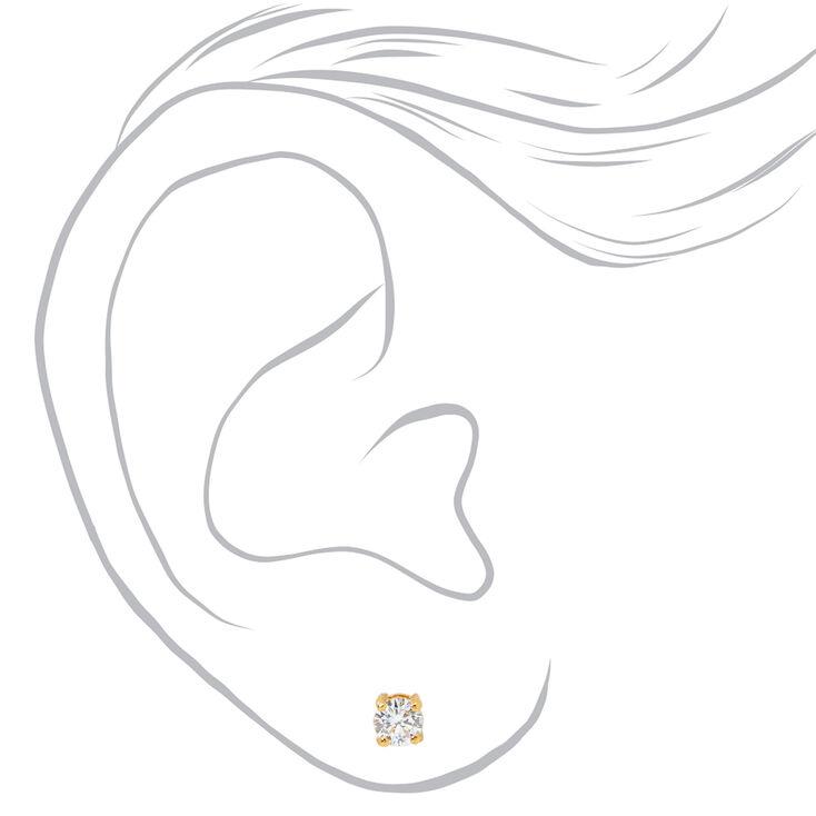 18kt Gold Plated Cubic Zirconia Basket Stud Earrings - 4MM,