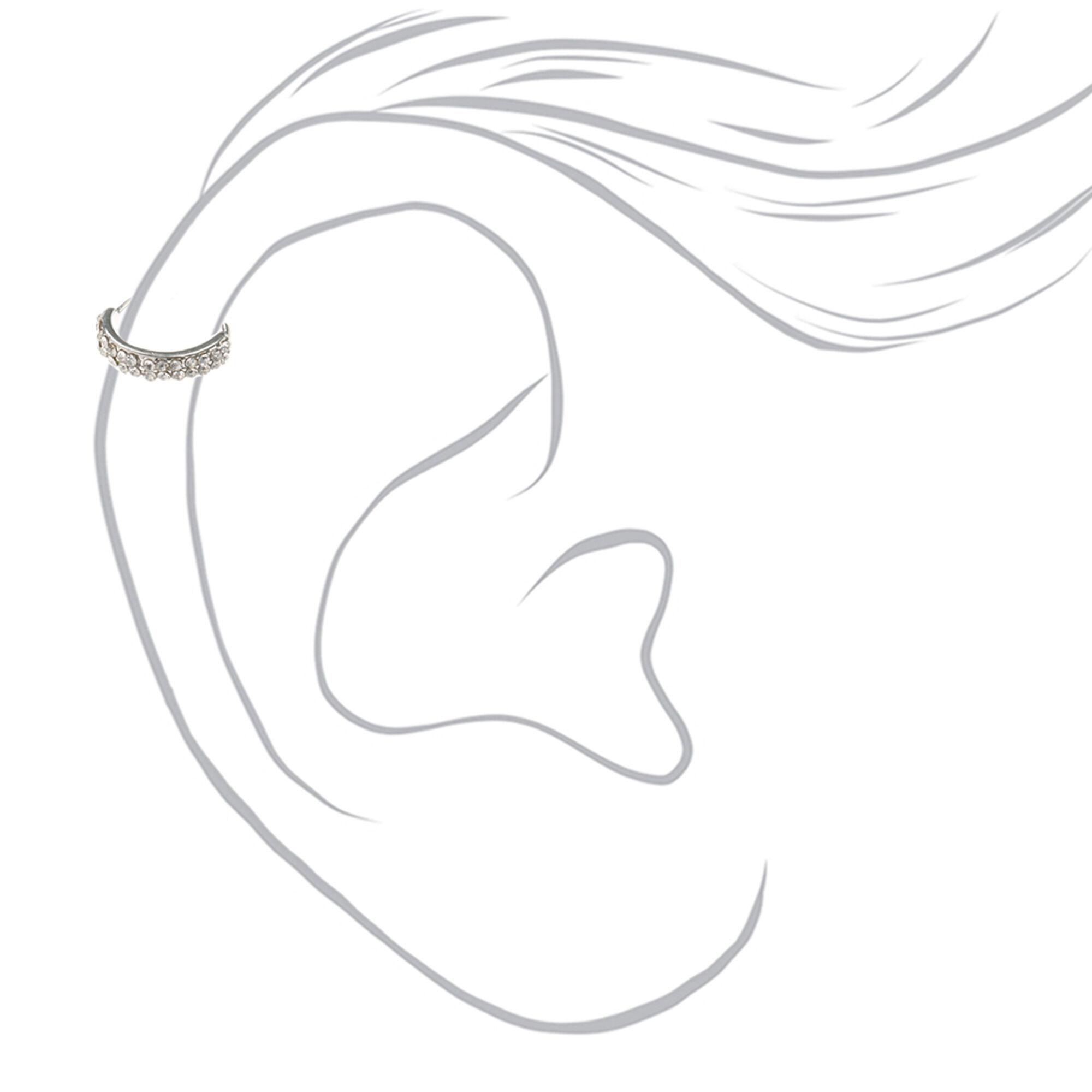 Anneau de faux piercing cartilage clouté en strass  57f3b17b355