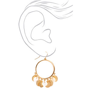 "Gold 2"" Textured Circle Seashell Drop Earrings,"
