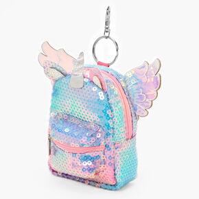 Porte-clés mini sac à dos licorne à sequins - Arc-en-ciel,