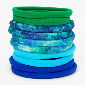Blue & Green Solid Tie Dye Rolled Hair Ties - 10 Pack,