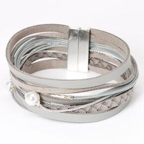 Faux Leather Pearl Wrap Bracelet - Gray,