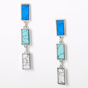 "Silver 2.5"" Marble Rectangle Stone Drop Earrings - Turquoise,"