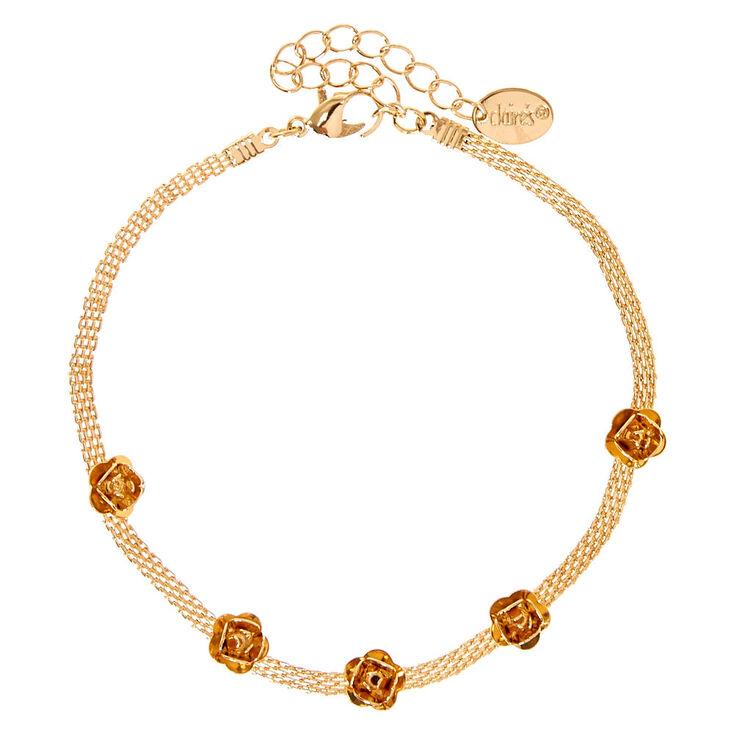 Rose Gold Mesh Chain Carved Roses Anklet,