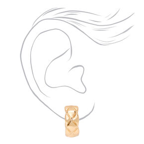Gold 20MM Quilted Hoop Earrings,